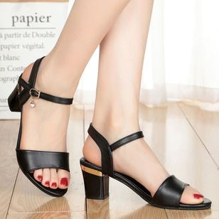 Women's Ankle Strap Peep Toe Low Heel Sandals (1508242)