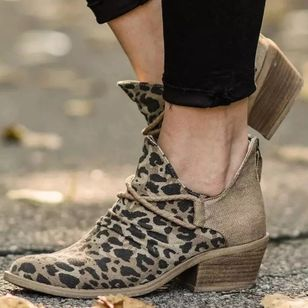 Women's Leopard Ankle Boots Closed Toe Cloth Chunky Heel Boots (111110242)
