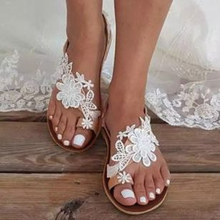Women's Flower Slingbacks Toe Ring Flat Heel Sandals (4045109)