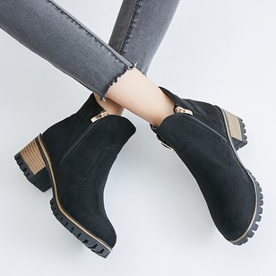 Zipper Ankle Boots Leatherette Chunky Heel Shoes