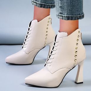 Women's Imitation Pearl Zipper Lace-up Closed Toe Pointed Toe Stiletto Heel Boots (106703110)