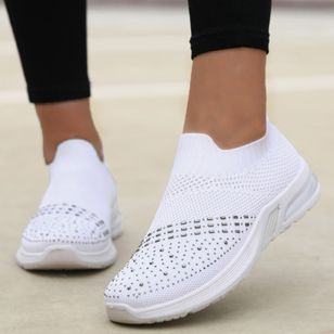 Women's Rhinestone Hollow-out Closed Toe Fabric Wedge Heel Sneakers (106293797)