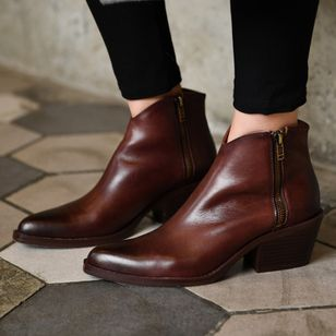 Women's Zipper Ankle Boots Chunky Heel Boots (107952629)