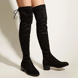Women's Lace-up Over The Knee Boots Closed Toe Nubuck Chunky Heel Boots (107952576)
