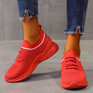 Women's Lace-up Hollow-out Closed Toe Fabric Wedge Heel Sneakers (100668906)
