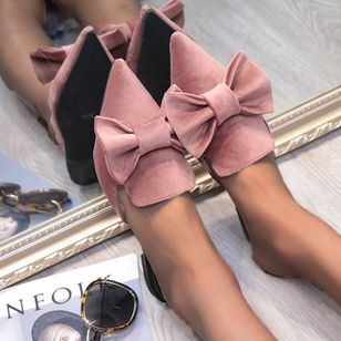 Women's Bowknot Closed Toe Pointed Toe Nubuck Flat Heel Slippers (4458743)
