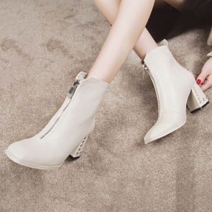 Grommet Zipper Ankle Boots Chunky Heel Shoes