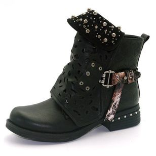 Grommet Buckle Ankle Boots Low Heel Shoes