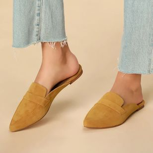 Women's Closed Toe Nubuck Flat Heel Pumps (1320790)
