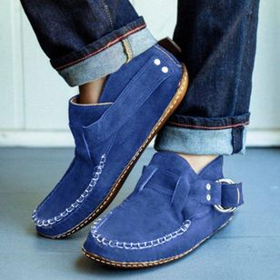Women's Buckle Ankle Boots Closed Toe Square Toe Nubuck Flat Heel Boots (111110239)