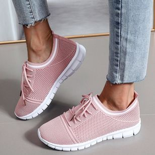 Women's Lace-up Round Toe Fabric Flat Heel Sneakers (147220671)