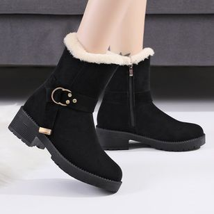Women's Buckle Ankle Boots Round Toe Nubuck Low Heel Boots (146678322)