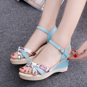 Braided Strap Sandals PU Wedge Heel Shoes