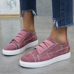 Women's Lace-up Round Toe Canvas Flat Heel Sneakers (5609965)
