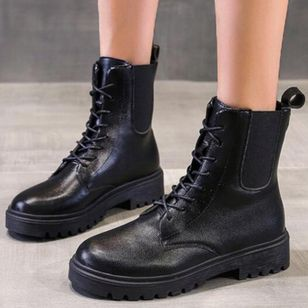 Women's Lace-up Ankle Boots Closed Toe Low Heel Boots (146712111)