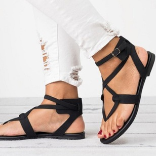 Buckle Hollow-out Sandals PU Flat Heel Shoes