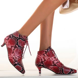 Women's Lace-up Ankle Boots Closed Toe Pointed Toe Stiletto Heel Boots (107952681)