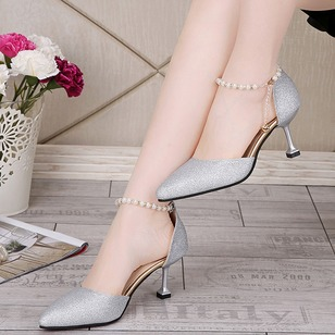 Imitation Pearl Heels Spool Heel Shoes