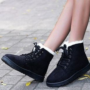 Women's Lace-up Ankle Boots Closed Toe Leatherette Flat Heel Boots (131285043)