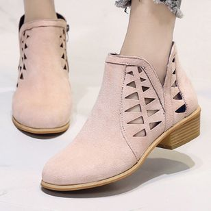 Hollow-out Ankle Boots Low Heel Shoes