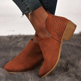 Women's Hollow-out Ankle Boots Closed Toe Low Heel Boots (106703113)