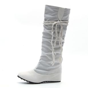 Women's Lace-up Knee High Boots Closed Toe Flat Heel Boots (145967585)