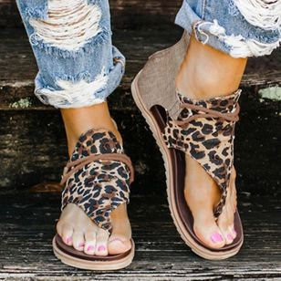 Women's Leopard Lace-up Flip-Flops Flat Heel Sandals (1515837)