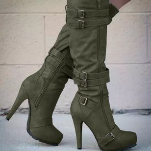 Women's Buckle Zipper Mid-Calf Boots Closed Toe Pointed Toe Stiletto Heel Boots (106586868)