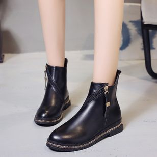 Zipper Ankle Boots Flat Heel Shoes
