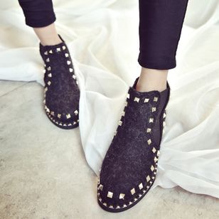 Rivet Elastic Band Flats Flat Heel Shoes