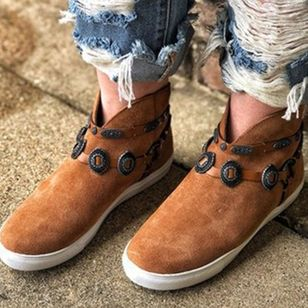 Women's Closed Toe Denim Flat Heel Sneakers (100547503)