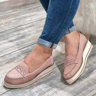 Women's Hollow-out Round Toe Flat Heel Flats (1526361)