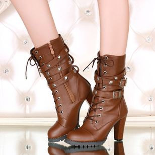 Rivet Lace-up Mid-Calf Boots Chunky Heel Shoes