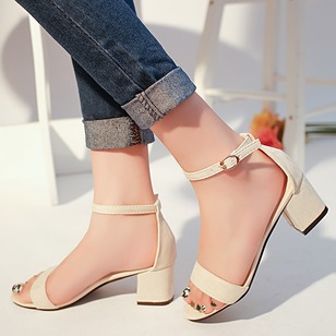 Women's Sandals Peep Toe Chunky Heel Suede Shoes