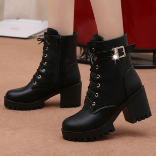 Women's Buckle Lace-up Ankle Boots Round Toe Heels Chunky Heel Boots (146893434)