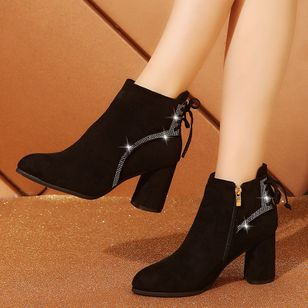 Crystal Zipper Closed Toe Chunky Heel Shoes