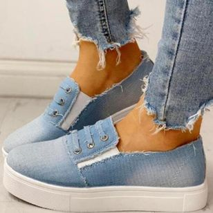 Women's Closed Toe Round Toe Denim Wedge Heel Platforms (4135197)
