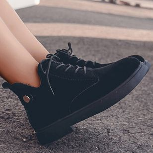 Women's Lace-up Ankle Boots Cloth Low Heel Boots (107952765)