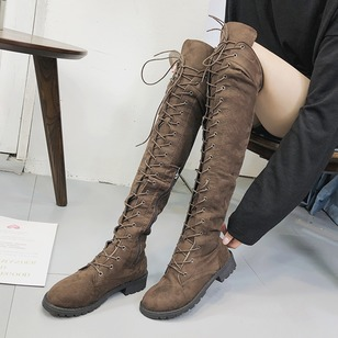 Lace-up Knee High Boots Cloth Chunky Heel Shoes