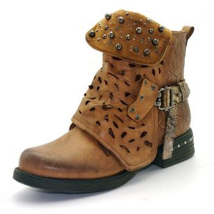 Women's Rivet Buckle Ankle Boots Closed Toe Round Toe Low Heel Boots (106703091)