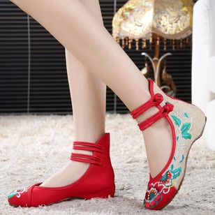 Women's Wedges Flats Closed Toe Low Heel Canvas Shoes