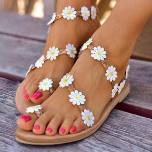 Women's Flower Slingbacks Toe Ring Flat Heel Sandals (4045198)
