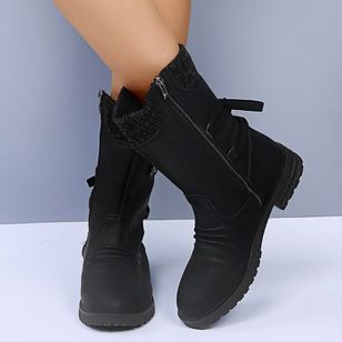 Women's Zipper Ankle Boots Nubuck Low Heel Boots (107952907)
