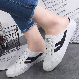Lace-up Sneakers Canvas Flat Heel Shoes