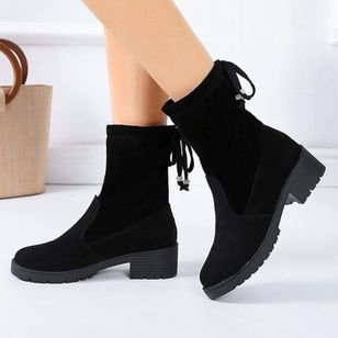 Women's Lace-up Mid-Calf Boots Closed Toe Cloth Chunky Heel Boots (135452853)