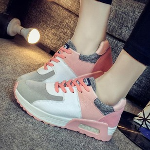 Lace-up Sneakers PU Flat Heel Shoes