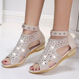 Women's Beading Hollow-out Round Toe Leatherette Flat Heel Sandals (147065604)