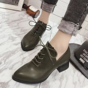 Lace-up Pointed Toe Chunky Heel Shoes