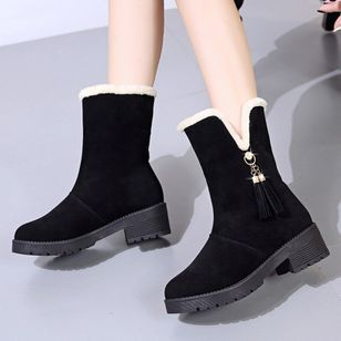 Women's Tassel Ankle Boots Round Toe Heels Denim Cotton Leatherette Chunky Heel Boots (131285063)