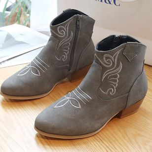 Women's Zipper Ankle Boots Closed Toe Cloth Chunky Heel Boots (107952733)